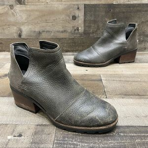 Sorel Dark Gray Leather Womens Ankle Boots Size 7